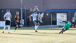 Hearts Adam Eckersley (not in pic) shot heads for Hearts goal past Alloa Athletic's keeper Craig McDowall.<br /> Alloa Athletic 0 v 1 Hearts, Scottish Championship played at Recreation Park, Alloa.