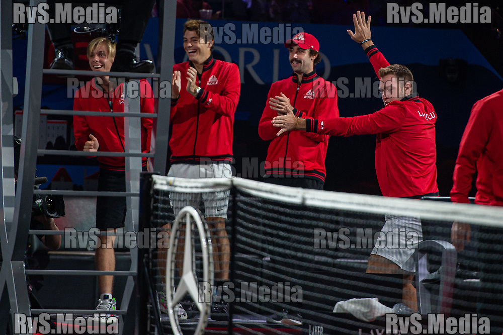 GENEVA, SWITZERLAND - SEPTEMBER 21: Team World celebrates during Day 2 of the Laver Cup 2019 at Palexpo on September 21, 2019 in Geneva, Switzerland. The Laver Cup will see six players from the rest of the World competing against their counterparts from Europe. Team World is captained by John McEnroe and Team Europe is captained by Bjorn Borg. The tournament runs from September 20-22. (Photo by Monika Majer/RvS.Media)