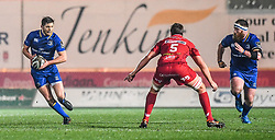 Leinster's Ross Byrne in action <br /> <br /> Photographer Craig Thomas/Replay Images<br /> <br /> Guinness PRO14 Round 17 - Scarlets v Leinster - Friday 9th March 2018 - Parc Y Scarlets - Llanelli<br /> <br /> World Copyright © Replay Images . All rights reserved. info@replayimages.co.uk - http://replayimages.co.uk