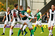 Florian Kamberi of Hiberninan FC controls on his chest with Jack Baird of St Mirren close behind during the Ladbrokes Scottish Premiership match between St Mirren and Hibernian at the Simple Digital Arena, Paisley, Scotland on 29th September 2018.