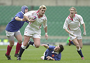 Twickenham, Surrey, 15th February 2003, Six Nationals International RFU Stadium, England,[Mandatory Credit: Peter Spurrier/Intersport Images], <br /> 2003 Women's International Rugby England v France<br /> Chris Diver breaks trough the French defence to score a first half try