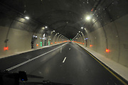 Israel, Highway tunnels as seen from within a moving car
