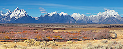 """Buckrail Fence, Grand Tetons, October snow,<br /> <br /> For production prints or stock photos click the Purchase Print/License Photo Button in upper Right; for Fine Art """"Custom Prints"""" contact Daryl - 208-709-3250 or dh@greater-yellowstone.com"""