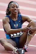 Gail Devers watches video replay of the 100 meters in the IAAF World Championships in Athletics at Stade de France on Sunday, Aug, 24, 2003.