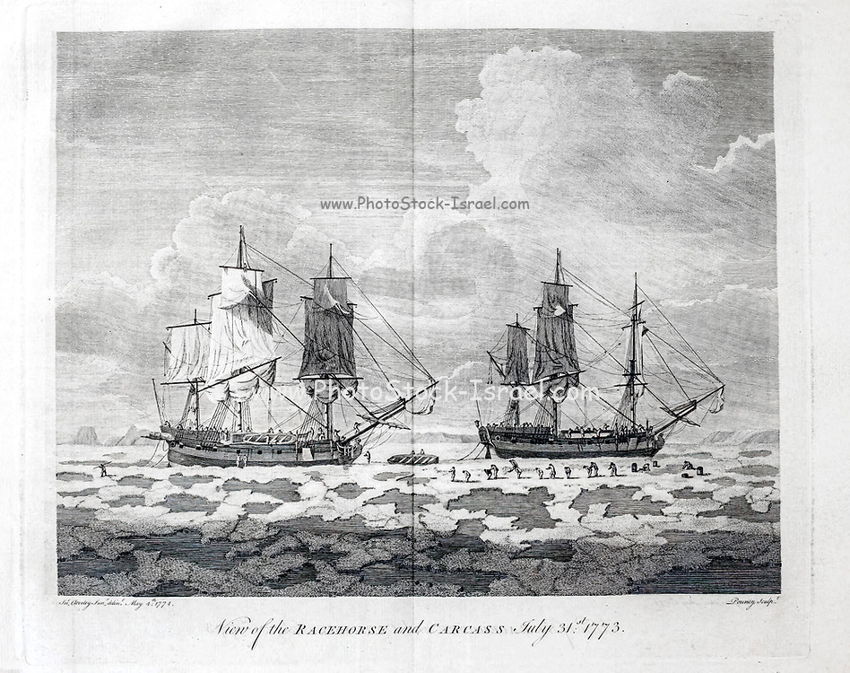 HMS Racehorse and HMS Carcass stuck in Ice from the book '  A voyage towards the North Pole : undertaken by His Majesty's command, 1773 ' by Constantine John Phipps, Baron Mulgrave, 1744-1792; The 1773 Phipps expedition towards the North Pole was a British Royal Navy expedition in which two ships under the commands of Constantine John Phipps as Captain of the HMS Racehorse [an 18-gun ship-rigged sloop of the Royal Navy.] and Skeffington Lutwidge as Captain of the HMS Carcass [a bomb vessel of the Royal Navy], sailed towards the North Pole in the summer of 1773 and became stuck in ice near Svalbard. A young Horatio Nelson. was a midshipmen onboard the ' Carcass ' on this expedition