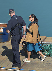 © Licensed to London News Pictures. 16/09/2021. Dover, UK.  Home Secretary speaks with Border Force officers at Dover Harbour in Kent. Migrants are continuing to attempt the crossing from France as the weather improves this week. Photo credit: Stuart Brock/LNP