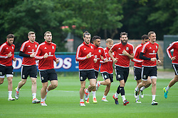 CARDIFF, WALES - Saturday, June 4, 2016: Wales' Gareth Bale and his team-mates during a training session at the Vale Resort Hotel ahead of the International Friendly match against Sweden. (Pic by David Rawcliffe/Propaganda)