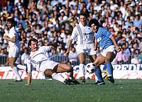 Diego Maradona (Napoli) Graeme Souness (Sampdoria) Napoli v Sampdoria. 23/9/1984. Naples. Credit : Colorsport/Andrew Cowie
