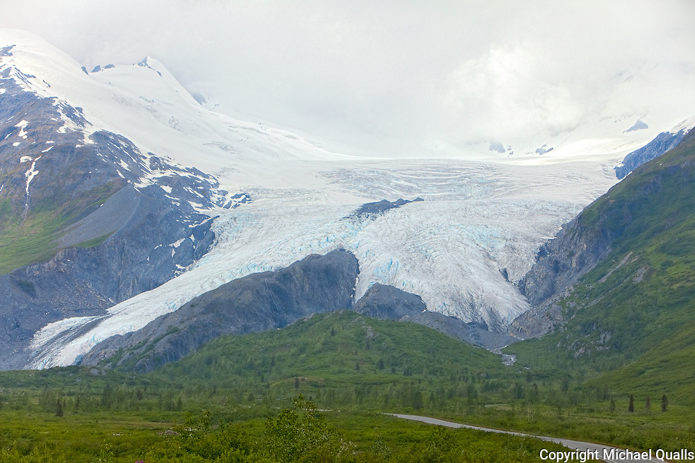 """Worthington Glacier from just below Thompson Pass on the way to Valdez.  One of the """"snowiest"""" passes in Alaska."""