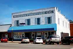 06 February 2015. Monroeville, Alabama.<br /> On the trail of Harper Lee's 'To Kill a Mocking Bird.'<br /> Morgan Furniture company. The old historic downtown store facades have not changed much over the years.<br /> Photo; Charlie Varley/varleypix.com