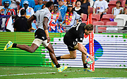 New Zealand's Tim Mikkelson scores i9n the corner during the HSBC Singapore Rugby Sevens Cup Quarter Final - New Zealand v Fiji at The National Stadium, Singapore, Sunday, April 13th, 2019. (Steve Flynn/Image of Sport)