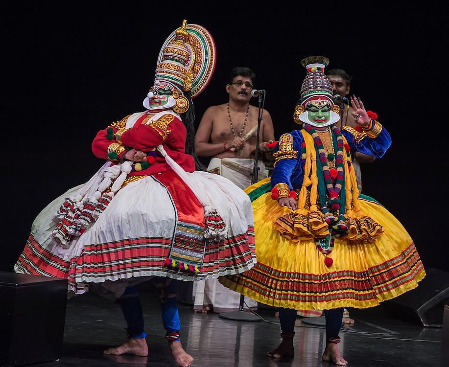 "Kalamandalam Soorianarayan (Duryodhana) and Kalamandalam Mukundan (Krishna), Kerala Kalamandalam Kathakali Troupe, performing Dussasana Vadhom (""The Killing of Dussasana"") from the Mahabharata , part of Lincoln Center's White Light Festival"