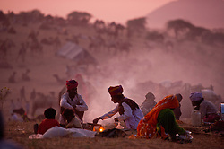 A camel trader makes tea at the world's largest annual cattle fair in the desert town of Pushkar, in the Indian state of Rajasthan. Every year thousands of camel herders from the semi-nomadic Rabari tribe, who make a living rearing animals, travel for two to three weeks across 500 kilometers to set up camp in the desert dunes near Pushkar to sell their livestock. The herders sell more than 20,000 camels, horses and other animals at the annual cattle fair.