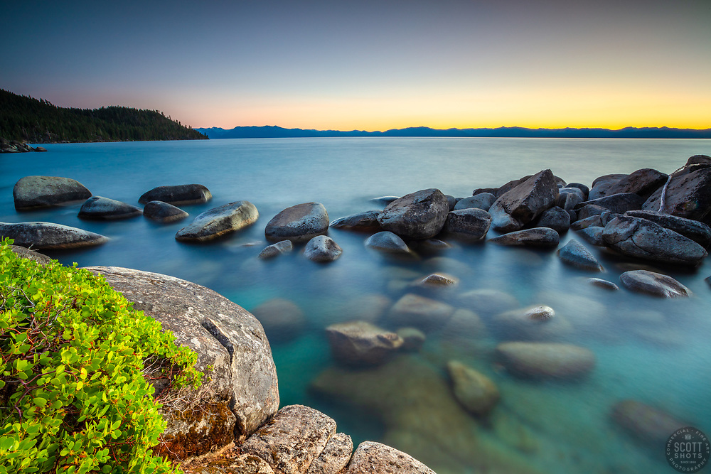 """""""Tahoe Boulders at Sunset 20"""" - Sunset photograph of boulders on the east shore of Lake Tahoe, just south of Secret Cove."""