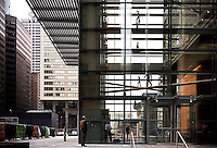 A view of the lobby of the recently constructed Comcast Tower in downton Philadelphia, Pennsylvania.
