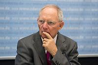 """26 MAR 2012, BERLIN/GERMANY:<br /> Wolfgang Schaeuble, CDU, bundesfinanzminister, Kongress der CDU/CSU-Bundestagsfraktion """"Krisen vorbeugen - Finanzaufsicht staerken"""", Sitzungssaal CDU/CSU-Bundestagsfraktion, Deutscher Bundestag<br /> IMAGE: 20120326-01-010<br /> KEYWORDS: Wolfgang Schäuble"""