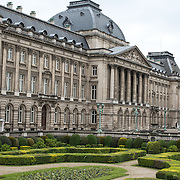 Part of the sculpted gardens in front of the Royal Palace of Brussels, the official palace of the Belgian royal family.