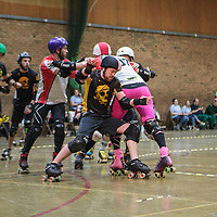 Lincolnshire Rolling Thunder take on Tyne and Fear in the Men's Tier 1 Roller Derby British Championships at the George H Carnall Sports Centre, Urmston, Greater Manchester, UK, 2016-06-20