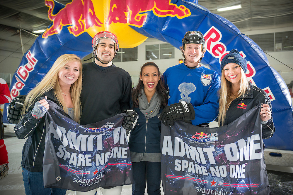 First place winner Jack Schram (L) and secound place winner Harrison Rigsby (R) pose for a portrait at Red Bull Crashed Ice at the Tampa Bay Skating Academy in Tampa Bay, FL, USA on 4  January 2014.