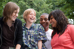 Group of teenagers in the park,