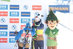 14.02.2021, Center Pokljuka, Pokljuka, SLO, IBU Weltmeisterschaften Biathlon, Sprint, Herren, Siegerehrung, im Bild jacquelin (emilien) (fra), boe (johannes thingnes) (nor), 	, // during the winner ceremony for the mens Sprint competition of IBU Biathlon World Championships at the Center Pokljuka in Pokljuka, Slovenia on 2021/02/14. EXPA Pictures © 2021, PhotoCredit: EXPA/ Pressesports/ Frederic Mons<br /> <br /> *****ATTENTION - for AUT, SLO, CRO, SRB, BIH, MAZ, POL only*****