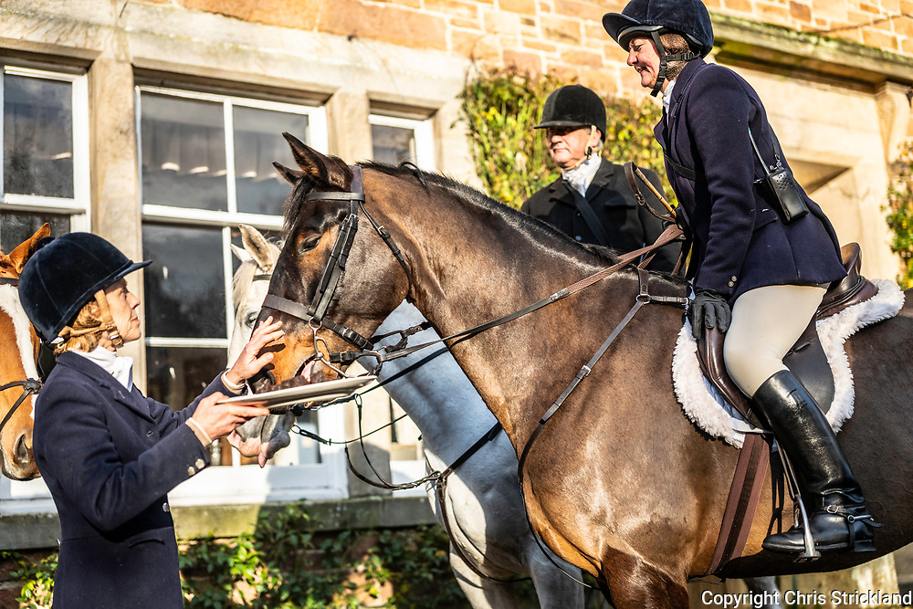 Heriot, Scottish Borders, UK. 4th December 2018. The Lauderdale Hunt, which is hunted by Claire Bellamy, meet near Heriot village, proceeding to flush foxes to guns from forestry blocks in the Moorfoot Hills.