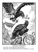"""Aquiline Amenities. German Eagle. """" Hullo! What have you got there?"""" American Eagle. """" An olive-branch. What have YOU got?"""" German Eagle. """" Oh, n-n-nothing much - and I was just dropping it, anyhow."""""""