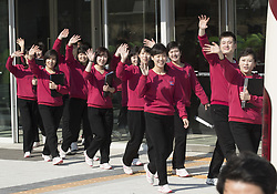 GANGNEUNG, South Korea, Feb. 8  The Samjiyon orchestra members arrive at the Arts Center of Gangneung, South Korea, on Feb. 8, 2018. The Samjiyon orchestra from the Democratic People's Republic of Korea (DPRK) staged a performance in the South Korean city of Gangneung on Thursday night before the opening of the PyeongChang Winter Olympics. (Credit Image: © Yao Qilin/Xinhua via ZUMA Wire)