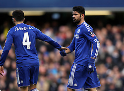 Diego Costa of Chelsea celebrates scoring his opening goal against Scunthorpe United with Cesc Fabregas of Chelsea - Mandatory byline: Robbie Stephenson/JMP - 10/01/2016 - FOOTBALL - Stamford Bridge - London, England - Chelsea v Scunthrope United - FA Cup Third Round