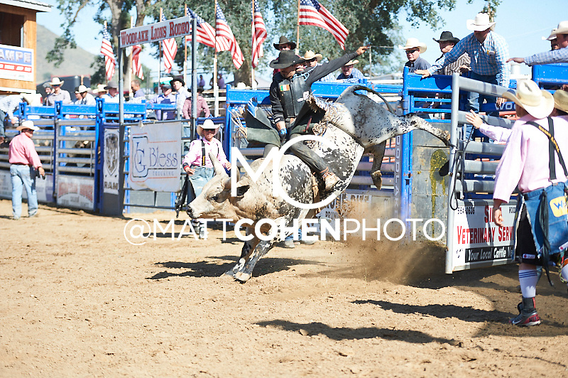 Bull rider Arturo Martinez of Fresno, CA rides The Hulk at the Woodlake Lions Rodeo.<br /> <br /> <br /> UNEDITED LOW-RES PREVIEW<br /> <br /> <br /> File shown may be an unedited low resolution version used as a proof only. All prints are 100% guaranteed for quality. Sizes 8x10+ come with a version for personal social media. I am currently not selling downloads for commercial/brand use.