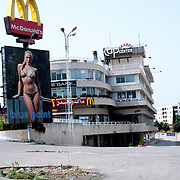 McDonald's  and billboard with the image of  woman with bikini .Beirut .Lebanon.