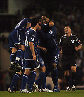 Photo: Tony Oudot.<br /> Tottenham Hotspur v Everton. The Barclays Premiership. 14/08/2007.<br /> Everton celebrate their third goal scored by Alan Stubbs