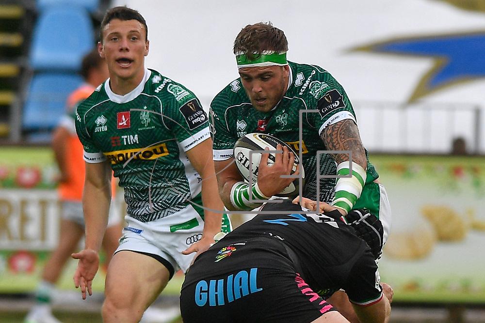 Parma, Italy, 07/05/2021Stadio Lanfranchi<br /> Guinness PRO14 Rainbow Cup<br /> Zebre Rugby vs Benetton Treviso <br /> <br /> Niccolo Cannone placcato da Luca Bigi