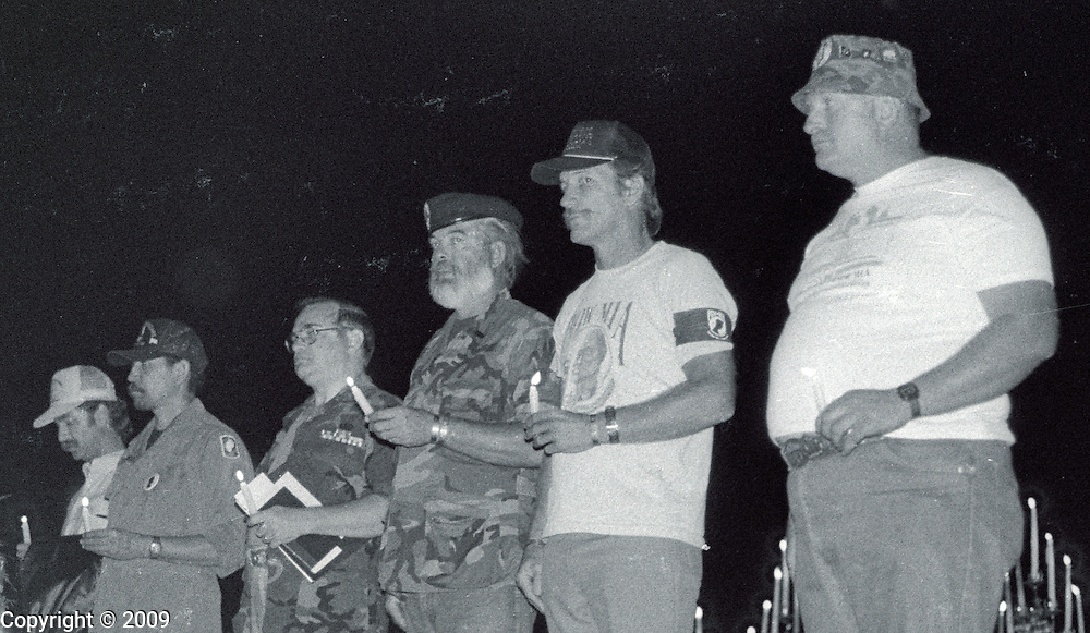 A group of Vietnam Veterans line up during a memorial ceremony in Porterville California in 1989. It has been said that Porterville lost more soldiers in the Vietnam War per capita than any other town in America.