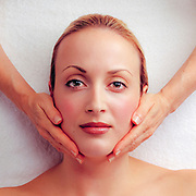 Client enjoys a spa facial treatment.  Created for Institut' DerMed, in Chamblee, Georgia.
