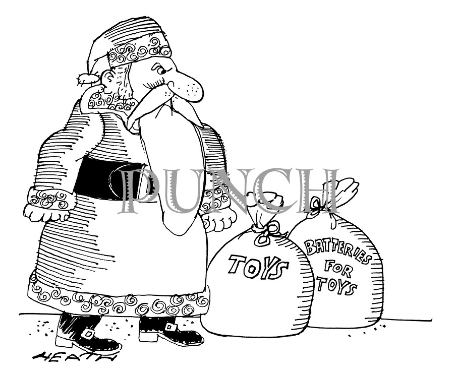 (Santa Claus has two sacks, one labelled 'Toys', the other 'Batteries for Toys')