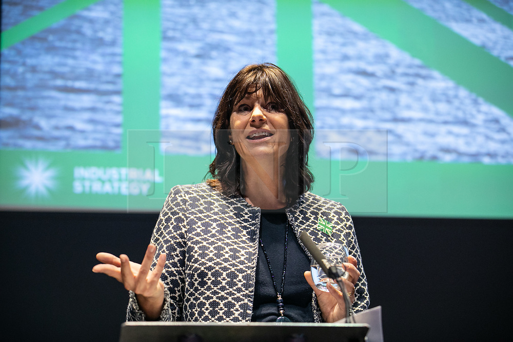 © Licensed to London News Pictures. 16/10/2018. London, UK. Energy and Clean Growth Minister Claire Perry speaks at the BusinessGreen Leaders' Summit at The Crystal, London, during Green GB Week. Photo credit : Tom Nicholson/LNP