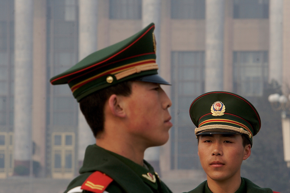 Soldiers stand guard at Tiananmen Square Beijing, China.
