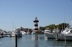 April 12, 2018 - Hilton Head Island, South Carolina, U.S. - HILTON HEAD ISLAND, SC - APRIL 12: The Lighthouse is dressed in Plaid to celebrate the 50th Anniversary of the Harbour Town golf tournament  during the first round of the RBC Heritage on April 12, 2018 at Harbour Town Golf Links in Hilton Head Island, SC. (Photo by Theodore A. Wagner/Icon Sportswire) (Credit Image: © Theodore A. Wagner/Icon SMI via ZUMA Press)