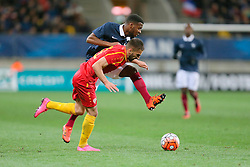 28.03.2016, Stade Mmarena, Le Mans, FRA, UEFA U21 Euro Qualifikation, Frankreich vs Mazedonien, Gruppe 3, im Bild lemar thomas, murati melvan // during the UEFA U21 Euro qualifier group 3 match between France and Macedonia at the Stade Mmarena in Le Mans, France on 2016/03/28. EXPA Pictures © 2016, PhotoCredit: EXPA/ Pressesports/ Vincent Michel<br /> <br /> *****ATTENTION - for AUT, SLO, CRO, SRB, BIH, MAZ, POL only*****