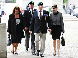 Members of the Royal Marines arriving for a memorial service for Sir Rex Hunt at St.Clement Danes church in London,Tuesday, 11th June 2013. Sir Rex was Governor of the Falkland Islands at the time of 1982 invasion by Argentina.  Picture by Stephen Lock / i-Images