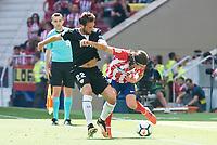 Atletico de Madrid's Filipe Luis and Sevilla's Franco Vazquez during La Liga match between Atletico de Madrid and Sevilla FC at Wanda Metropolitano Stadium in Madrid, Spain September 23, 2017. (ALTERPHOTOS/Borja B.Hojas)