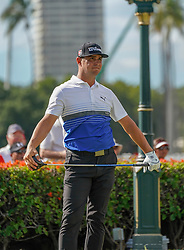 January 11, 2019 - Honolulu, HI, U.S. - HONOLULU, HI - JANUARY 11: Gary Woodland watches his tee shot off the 1st hole during the second round of the Sony Open at the Waialae Country Club in Honolulu, HI. (Photo by Darryl Oumi/Icon Sportswire) (Credit Image: © Darryl Oumi/Icon SMI via ZUMA Press)