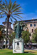 Statue of Ramon Llull, Palma de Mallorca, Balearic Islands, Spain