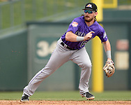 GLENDALE, ARIZONA - MARCH 02:  Brendan Rodgers #65 of the Colorado Rockies fields against the Chicago White Sox on March 2, 2019 at Camelback Ranch in Glendale Arizona.  (Photo by Ron Vesely)  Subject:  Brendan Rodgers