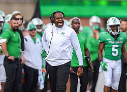 Oct 9, 2021; Huntington, West Virginia, USA; Marshall Thundering Herd head coach Charles Huff yells from the sidelines during the first quarter against the Old Dominion Monarchs at Joan C. Edwards Stadium. Mandatory Credit: Ben Queen-USA TODAY Sports