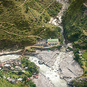 Aerial view of one of the many hydro projects along the upper reaches of the Ganges River, Uttarakhand, India.