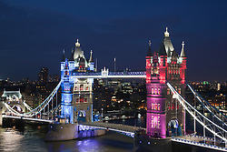 © Licensed to London News Pictures. 30/05/2012. London, England. A new Tower Bridge lighting system sponsored by EDF and GE has been completed in time for Diamond Jubilee and Summer 2012 Celebrations. The coloured lights will only be used on special occasions whereas the white LED lighting and cabling system will be permanent. Photo credit: Bettina Strenske/LNP