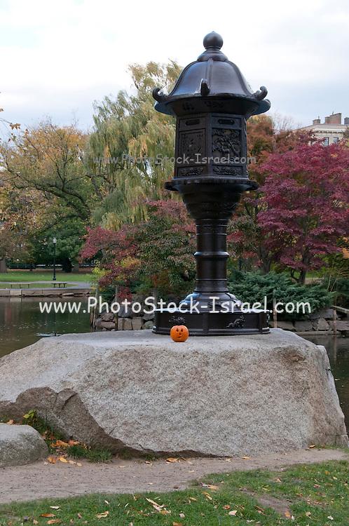 USA, Massachusetts, Boston. Boston Public Garden in autumn with a pumpkin