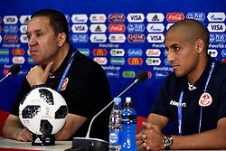 June 22, 2018 - Moscow, RUSSIA - Tunesia's Head Coach Nabil Maaloul and Tunesia's Wahbi Khazri pictured during a press conference of Tunisian national soccer team in the Spartak stadium, in Moscow, Russia, Friday 22 June 2018. The team is preparing for their second game against Belgium tomorrow at the FIFA World Cup 2018. BELGA PHOTO DIRK WAEM (Credit Image: © Dirk Waem/Belga via ZUMA Press)